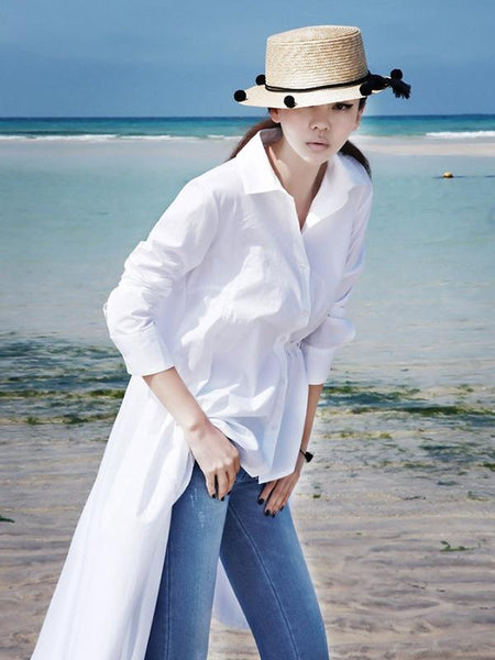 Fashion White Asymmetric Shirt Dress