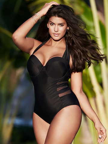 Plus Size Fashion Black One-piece Swimsuit