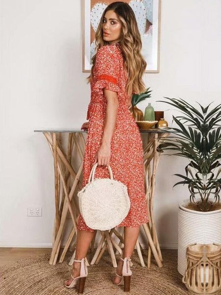 Lace Split-joint Printed Midi Dresses