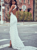 Lace White V-back Evening Dress