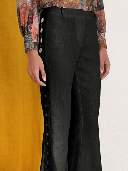 Fashion Hollow Empire Wide Leg Casual Pants