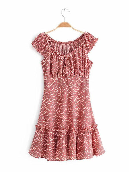 Off-the-shoulder Polka-Dot Ruffled Collar Mini Dresses