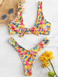 High Cut Flamingo Printed Bikinis Swimwear