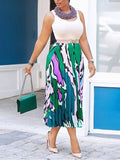 Green Colorful Pleated High Waisted Homecoming Party Skirt