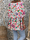Green Floral Pleated Ruffle Round Neck Three Quarter Length Sleeve Fashion Blouse