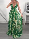 Green Floral Print Draped Cross Back Chiffon Deep V-neck Bohemian Maxi Dress
