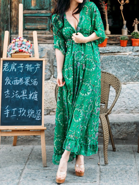 Green Floral Print Ruffle Draped Sashes V-neck Elbow Sleeve Bohemian Maxi Dress