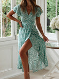 Green Floral Print Sashes Irregular Draped V-neck Bohemian Maxi Dress