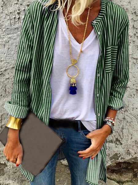 Green-White Striped Pockets Single Breasted V-neck Long Sleeve Fashion Blouse