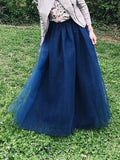 Grenadine Pleated High Waisted Tulle Tutu Homecoming Party Bridesmaid Cute Elegant Maxi Skirt