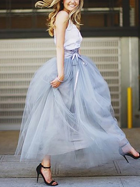 Grey Grenadine Pleated High Waisted Tulle Tutu Homecoming Party Bridesmaid Elegant Maxi Skirt