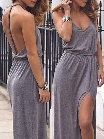 Grey Draped Backless Side Slit Deep V-neck Sleeveless Maxi Dress