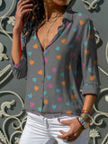 Grey Heart Print Single Breasted Turndown Collar Long Sleeve Fashion Blouse