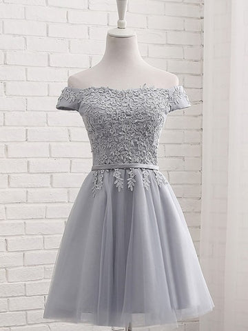 Grey Patchwork Lace Grenadine Boat Neck Party Bridemaid Prom Mini Dress