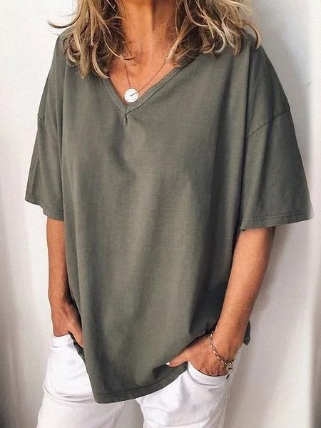 Grey Pleated V-neck Short Sleeve Fashion T-Shirt