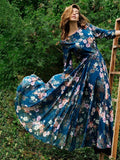 Floral 3\/4 Sleeves Round-neck Maxi Dress
