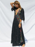 Beautiful Bohemia 3\/4 Sleeve V-Neck Floral Black Maxi Dress