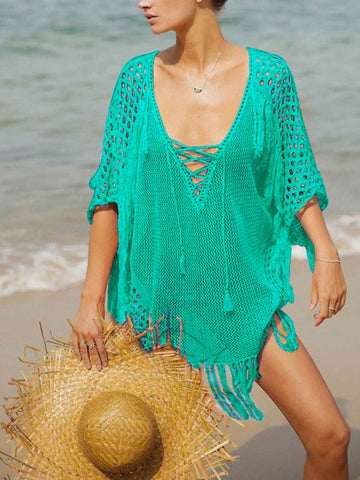 Lake Blue Knitting Cut Out Tassel V-neck Drawstring Bohemian Beachwear Cover-Up Bikini Beach Mini Dress