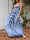 Light Blue Patchwork Lace Condole Belt V-neck Flowy Bohemian Maxi Dress