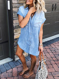 Light Blue Patchwork Pockets Buttons V-neck Fashion Jeans Denim Mini Dress