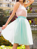 Light Green Draped Pleated Grenadine High Waisted Elegant Skirt