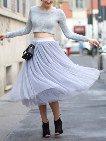 Light Grey Grenadine Pleated High Waisted Tulle Tutu Homecoming Party Bridesmaid Cute Wedding Elegant Midi Skirt