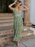 V-neck Printed Condole Belted Maxi Dress
