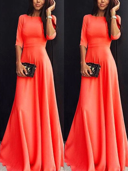 Nacarat Coral Pleated Draped Round Neck Three Quarter Length Sleeve Elegant Prom Bridesmaid Maxi Dress