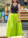 Neon Yellow Grenadine Pleated High Waisted Tulle Tutu Homecoming Party Bridesmaid Cute Wedding Elegant Maxi Skirt