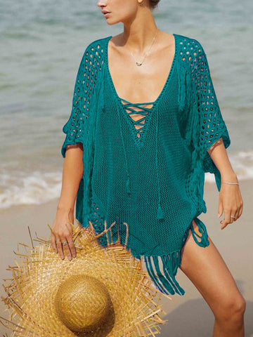 Peacock Blue Knitting Cut Out Tassel V-neck Drawstring Bohemian Beachwear Cover-Up Bikini Beach Mini Dress