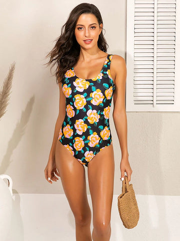 Polka-Dot Leaf Striped Flower One-piece Swimsuit