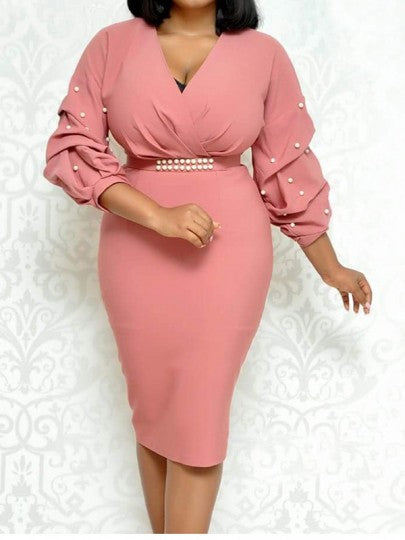 Pink Belt Ruffle Pearl V-neck Plus Size Midi Dress