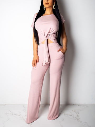 Pink Cut Out Pockets Lace-up One-shoulder Two Piece Wide Leg Long Casual Jumpsuit Pants