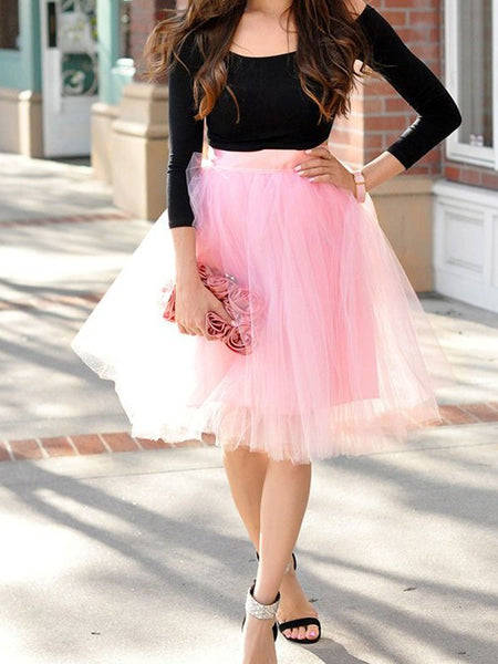 Pink Draped Pleated Grenadine High Waisted Elegant Skirt
