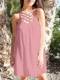 Pink Neckline Cross Spaghetti Strap Backless Fashion Beach Mini Dress