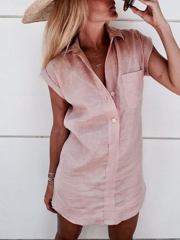Pink Pockets Single Breasted Turndown Collar Short Sleeve Fashion Blouse