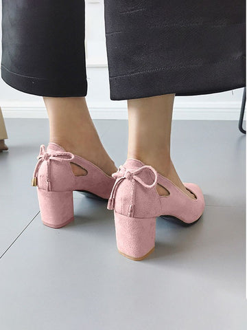 Pink Point Toe Bow Formal Sweet High-Heeled Shoes