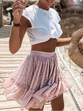 Pink Polka Dot Ruffle Drawstring Waist High Waisted Flowy Skater Tutu Short Skirt