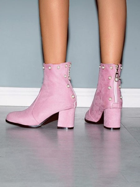 Pink Round Toe Pearl Formal Sweet High-Heeled Boots