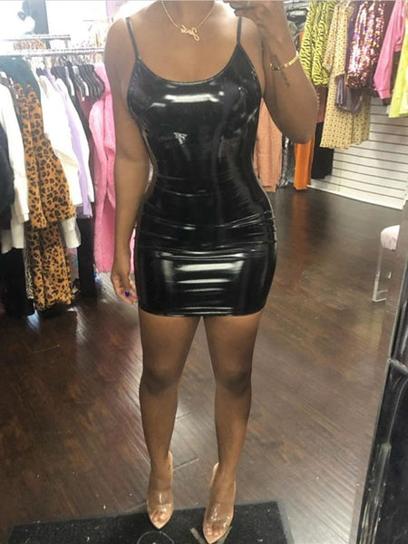 Black Spaghetti Strap Backless Bodycon PU Leather Latex Vinly Party Clubwear Mini Dress