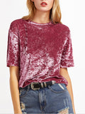 Pink Suede Round Neck Short Sleeve Summer Cute Fashion Girls T-Shirt