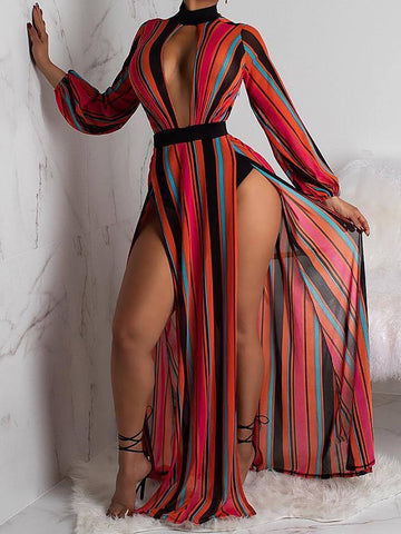 Red-Black Striped Double Slit Zipper Long Sleeve Crop Maxi Dress