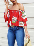 Red Floral Print Off Shoulder Half Sleeve Going out Blouse