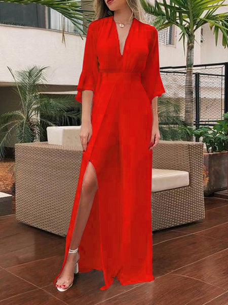 Red Irregular Side Slits Deep V-neck Long Sleeve Beachwear Bohemian Wide Leg Palazzo Long Jumpsuit