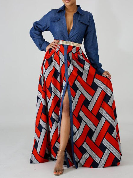 Red Patchwork Geometric Pattern Single Breasted Pockets Turndown Collar Bohemian Maxi Dress