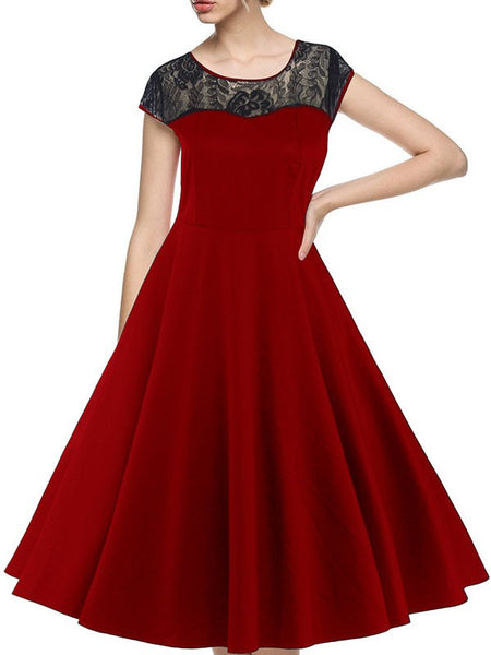 Red Patchwork Lace Draped A-Line Round Neck Short Sleeve Elegant Midi Dress