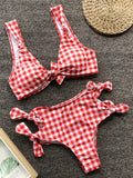 Red Plaid Cut Out Bow Knot 2-in-1 Cute Outdoors Bikini