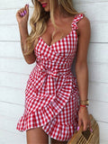 Red Plaid Ruffle Bow V-neck Party Mini Dress