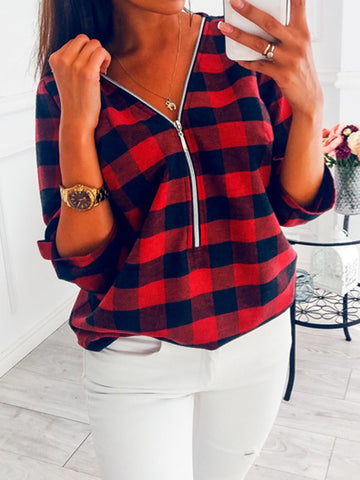 Red Plaid Zipper V-neck Long Sleeve Fashion Blouse