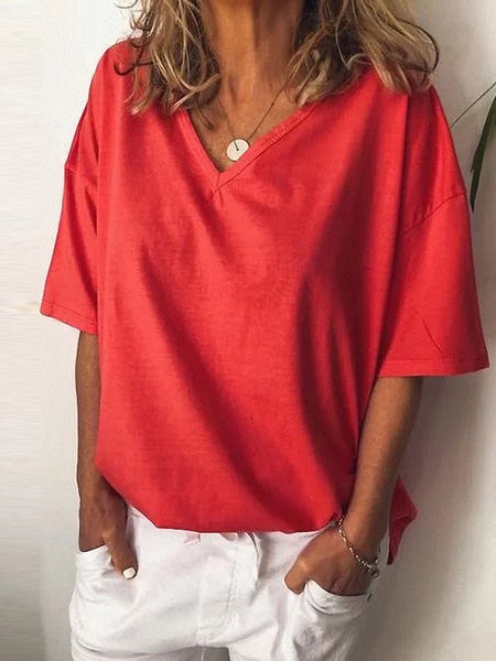 Red Pleated V-neck Short Sleeve Fashion T-Shirt